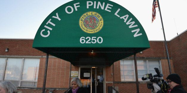PINE LAWN, MO -  MARCH 5:  The Pine Lawn Municipal Court Building is shown on March 5, 2015  in Pine Lawn, Missouri.. The gro