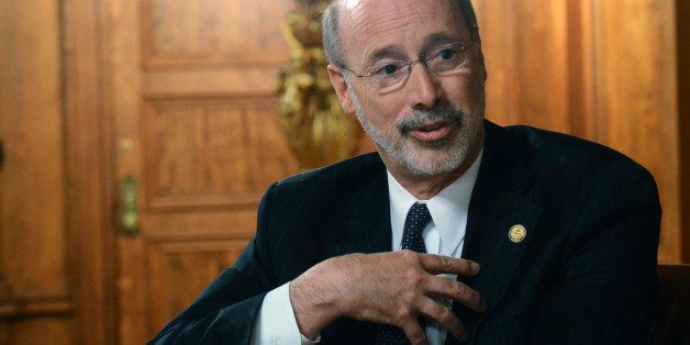Gov. Tom Wolf speaks during an interview with The Associated Press in his Capitol offices, Wednesday, March 11, 2015 in Harri