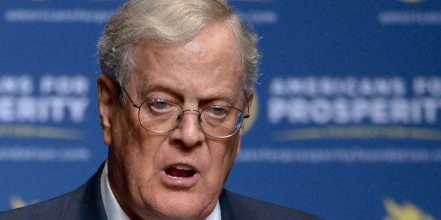 FILE - In this Aug. 30, 2013 file photo, Americans for Prosperity Foundation Chairman David Koch  speaks in Orlando, Fla. The