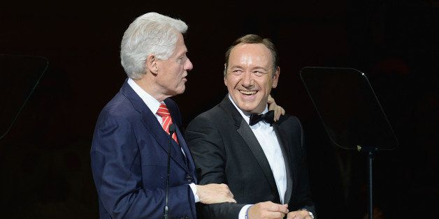 NEW YORK, NY - APRIL 17:  President Bill Clinton and Kevin Spacey speak during the 25th Anniversary Rainforest Fund Benefit C