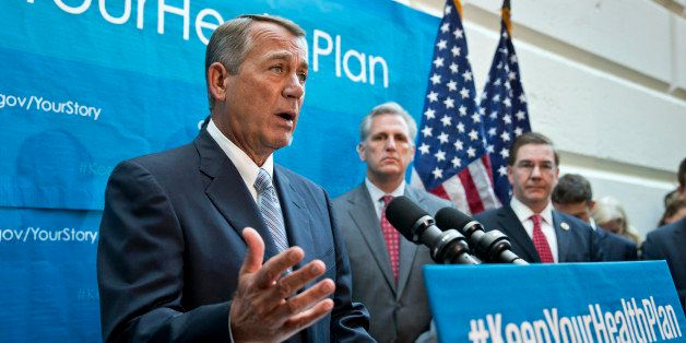 House Speaker John Boehner of Ohio, left, joined House Majority Whip Kevin McCarthy of Calif., and Rep. Keith Rothfus, R-Pa.,