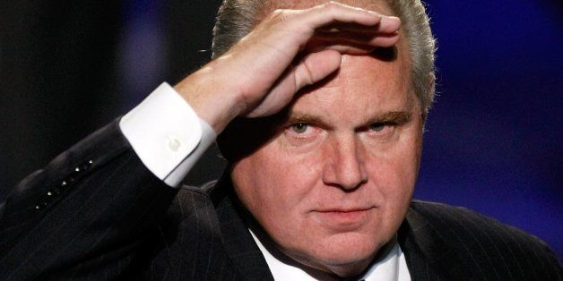 LAS VEGAS - JANUARY 27:  Radio talk show host and conservative commentator Rush Limbaugh salutes as he is introduced as a jud