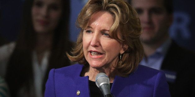 GREENSBORO, NC - NOVEMBER 04:  Incumbent U.S. Sen. Kay Hagan (D-NC) concedes as she speaks to supporters during her election