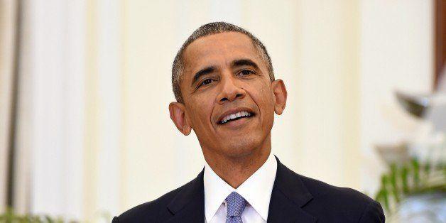 US President Barack Obama addresses the media after delegation level talks with Indian Prime Minister Narendra Modi in New De