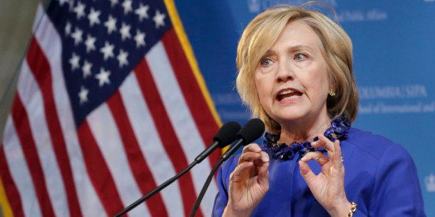 Hillary Rodham Clinton, a 2016 Democratic presidential contender, speaks at the David N. Dinkins Leadership and Public Policy