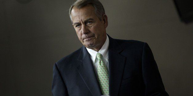 Speaker of the House John Boehner (R-OH) arrives to speak during a weekly briefing on Capitol Hill April 23, 2015 in Washingt