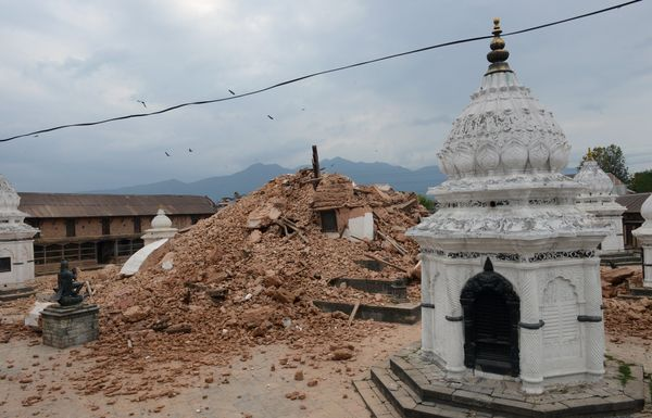 A collapsed temple is seen in Kathmandu after an earthquake on April 25, 2015. A massive 7.8 magnitude earthquake killed hund