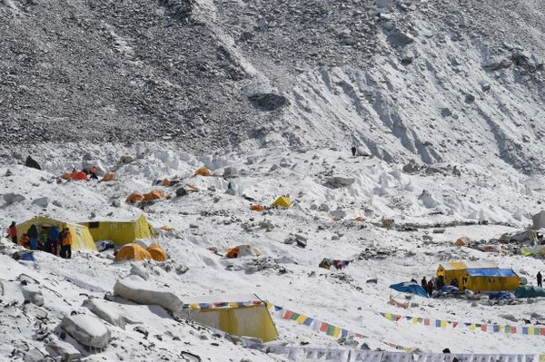 This general view shows Everest Base Camp on April 26, 2015, a day after an avalanche triggered by an earthquake devastated t