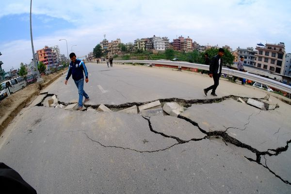 KATHMANDU, NEPAL - APRIL 26: The cracks on the roads after a powerful earthquake hits Katmandu, Nepal on April 26, 2015. The