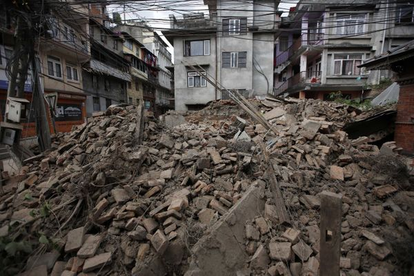 KATHMANDU, NEPAL - APRIL 26: Destroyed buildings seen after a powerful earthquake in Katmandu, Nepal on April 26, 2015. The d