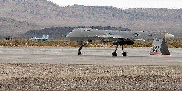 INDIAN SPRINGS, NV - APRIL 16:  An MQ-1B Predator unmanned aircraft system (UAS) taxis April 16, 2009 at Creech Air Force Bas