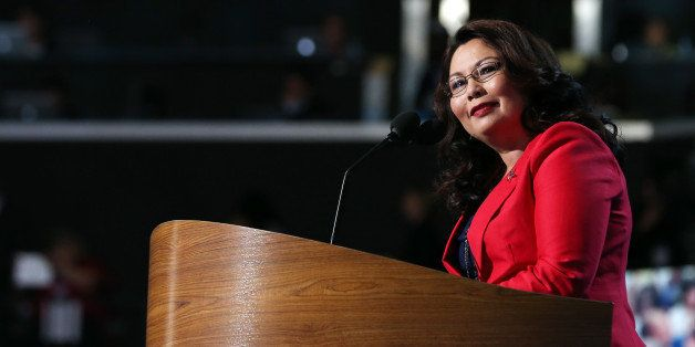 CHARLOTTE, NC - SEPTEMBER 04:  Illinois nominee for Congress Tammy Duckworth speaks during day one of the Democratic National