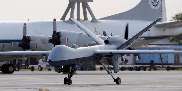 FILE - In this Nov. 8, 2011 file photo, a Predator B unmanned aircraft taxis at the Naval Air Station in Corpus Christi, Texa