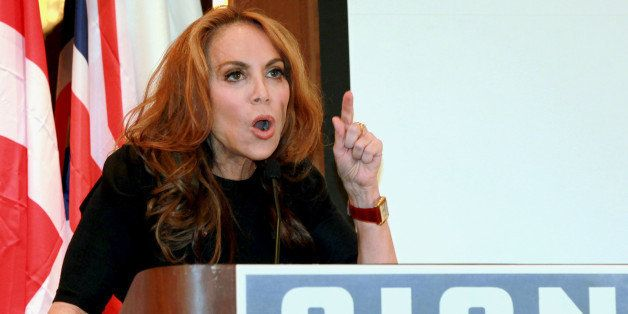 "In this Sept. 11, 2012 photo, anti-Islamic blogger Pamela Geller, speaks at a conference she organized entitled; ""Stop Isla"
