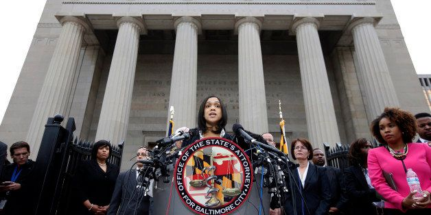FILE - In this Friday, May 1, 2015 file photo, Marilyn Mosby, Baltimore's top prosecutor, speaks during a news conference in