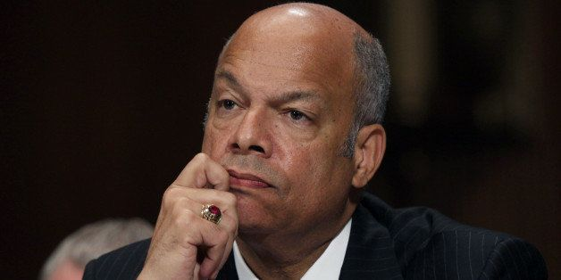 Homeland Security Secretary Jeh Johnson testifies on Capitol Hill in Washington, Tuesday, April 28, 2015, before the Senate J