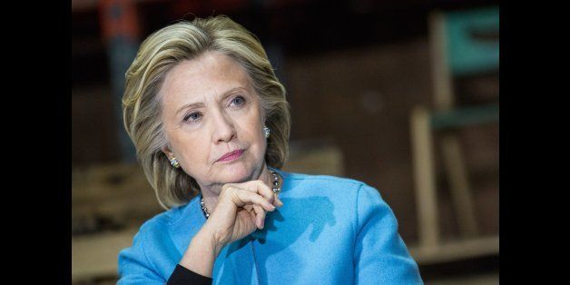 KEENE, NH - APRIL 20:  Democratic presidential hopeful and former U.S. Sectetary of State Hillary Clinton speaks to employees