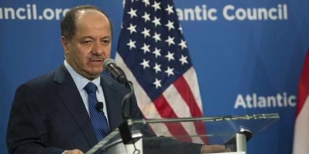 President of the Kurdistan region of Iraq, Masoud Barzani speaks at the Atlantic Council in Washington, DC, May 6, 2015. Barz