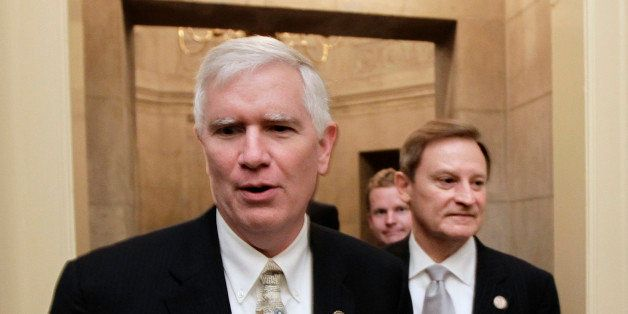 FILE - This July 28, 2011 file photo shows Rep. Mo Brooks, R-Ala., left, on Capitol Hill in Washington. The tea party may hav