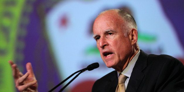 FILE - In this May 22, 2012 file photo, Gov. Jerry Brown discusses his proposed tax initiative, Proposition 30, during his ap