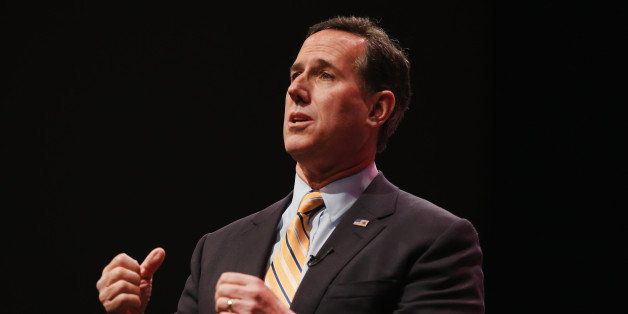 WAUKEE, IA - APRIL 25:  Former Pennsylvania Senator Rick Santorum speaks to guests gathered at the Point of Grace Church for