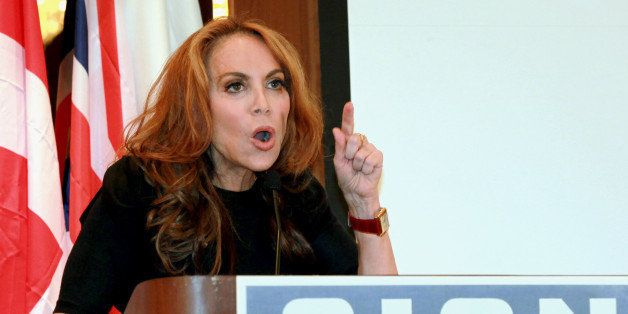 """In this Sept. 11, 2012 photo, anti-Islamic blogger Pamela Geller, speaks at a conference she organized entitled; """"Stop Isla"""