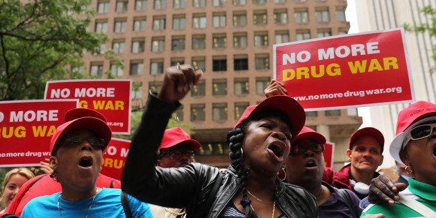 NEW YORK, NY - JUNE 13:  Marijuana legalization advocates and members of community groups attend a rally against marijuana ar