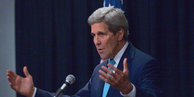 US Secretary of State John Kerry holds a press conference at Sankara hotel in the Kenyan capital Nairobi on May 4, 2015. Kerr