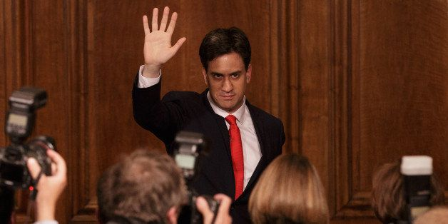 Britain's Labour Party leader Ed Miliband waves as he leaves after delivering his resignation at a press conference in Westmi