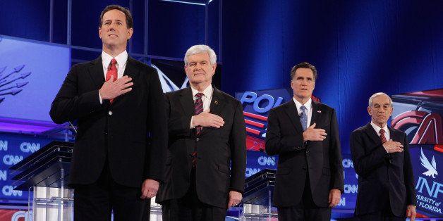 JACKSONVILLE, FL - JANUARY 26:  Republican presidential candidates (L-R) former U.S. Sen. Rick Santorum, former Speaker of th
