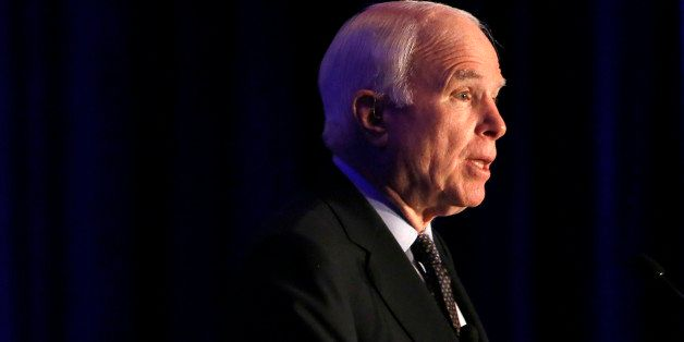 Sen. John McCain, R-Ariz. formally announces his candidacy for re-election in 2016 at an Arizona Chamber of Commerce luncheon