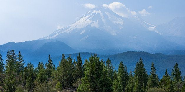 Mount Shasta is the second highest peak volcano of the Cascade Range (14,179 feet  - 4,322 m). Fifth highest in California.