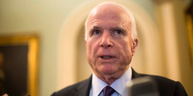 Sen. John McCain, R-Ariz. speaks to reporters on Capitol Hill in Washington, Tuesday, May 5,2015, before a GOP luncheon. (AP