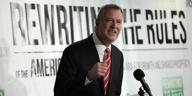 WASHINGTON, DC - MAY 12:  New York City Mayor Bill de Blasio speaks about the release of a new report authored by Nobel-prize