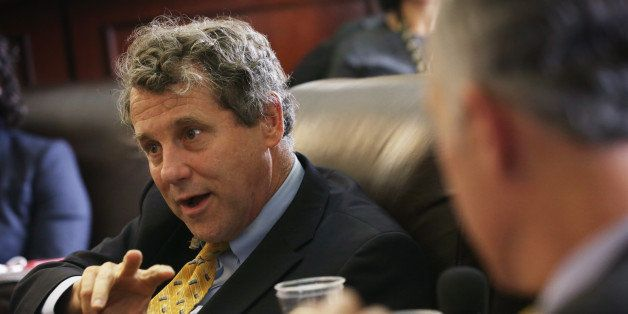 WASHINGTON, DC - APRIL 23:  U.S. Sen. Sherrod Brown (D-OH) speaks to members of the media April 23, 2015 on Capitol Hill in W