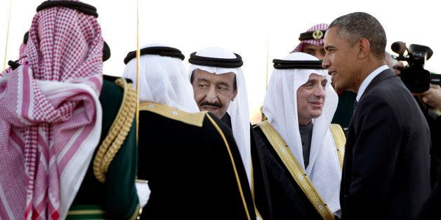 FILE - In this Tuesday, Jan. 27, 2015 file photo, President Barack Obama is greeted by new Saudi King Salman bin Abdul Aziz a