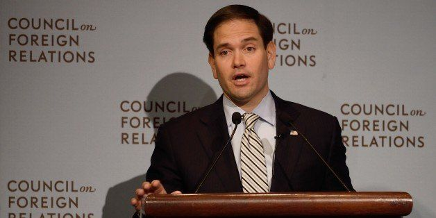 Presidential candidate and Florida Republican US Senator Marco Rubio speaks to the audience  May 13, 2015 at the Council on F
