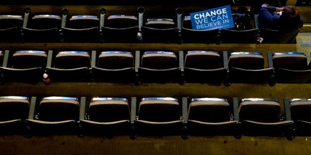 DENVER - AUGUST 25: Many seats in the Pepsi Center sit empty during day one of the Democratic National Convention (DNC) at th