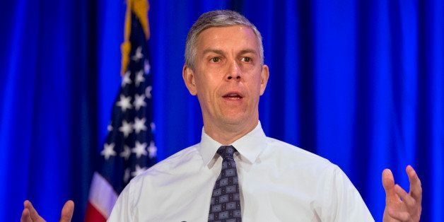 Education Secretary Arne Duncan speaks at the National Forum on Youth Violence Prevention, Tuesday, May 12, 2015, in Arlingto