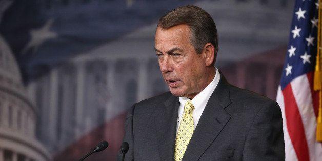 WASHINGTON, DC - APRIL 30:  House Speaker Boehner John Boehner (R-OH) speaks to the media during a news conference at the U.S
