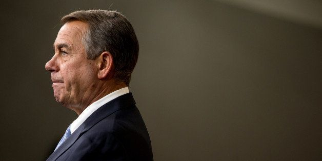 House Speaker John Boehner of Ohio speaks to members of the media during his weekly news Conference on Capitol Hill in Washin