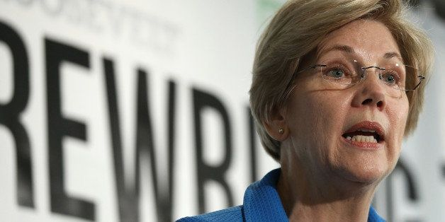 WASHINGTON, DC - MAY 12:  Sen. Elizabeth Warren (D-MA) speaks about the release of a new report authored by Nobel-prize winni