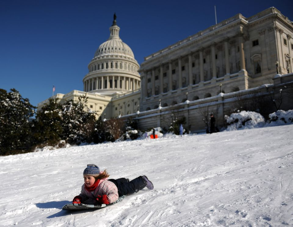 Capitol Hill may not be the steepest sledding hill in the District but it's definitely the most scenic.