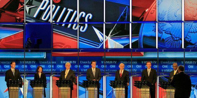Former Pennsylvania Sen. Rick Santorum, left to right, Rep. Michele Bachmann, R-Minn., former House Speaker Newt Gingrich, fo
