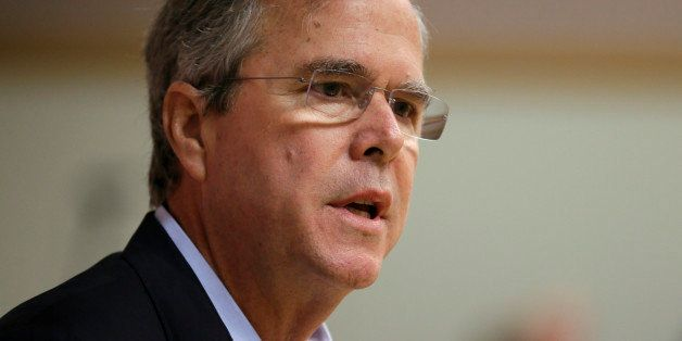 Former Florida Gov. Jeb Bush speaks during a town hall meeting, Saturday, May 16, 2015, at Loras College in Dubuque, Iowa. (A