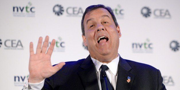 MCLEAN, VIRGINIA - MAY 1: New Jersey Governor Chris Christie addresses VA Consumer Electronics Association during a Leadershi
