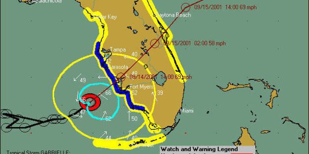 Tropical Storm Gabrielle at 5:00 a.m. on September 14, 2001, a few hours before landfall at Sarasota, Florida.  This map show