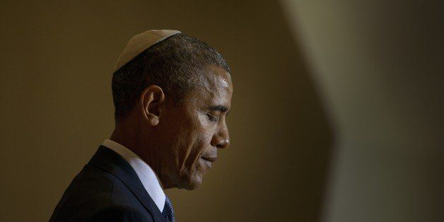 US President Barack Obama speaks at the Adas Israel Congregation May 22, 2015 in Washington, DC. AFP PHOTO/BRENDAN SMIALOWSKI