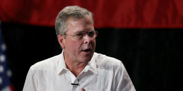 SWEETWATER, FL - MAY 18:  Former Florida Governor and potential Republican presidential candidate Jeb Bush speaks to supporte