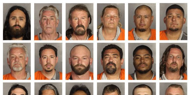 This combination of booking photos provided by the McLennan County Sheriff's office shows people arrested during the motorcyc